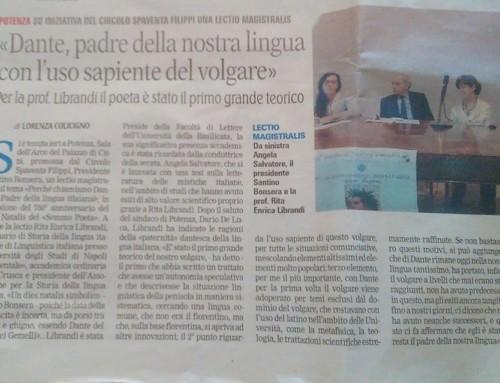 Dante, padre della nostra lingua con l'uso sapiente del volgare. Gazzetta del Mezzogiorno 6/06/2015