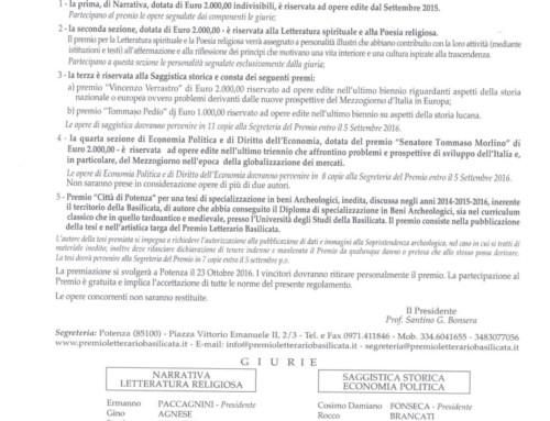 Bando XLV Edizione del Premio Letterario Basilicata