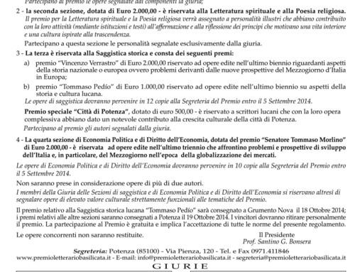 Bando XLIII Edizione del Premio Letterario Basilicata